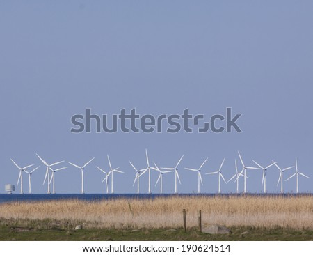 Offshore wind power station in the Baltic sea - stock photo