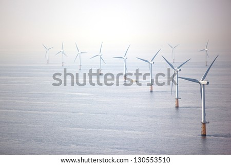 Offshore wind turbine farm - stock photo