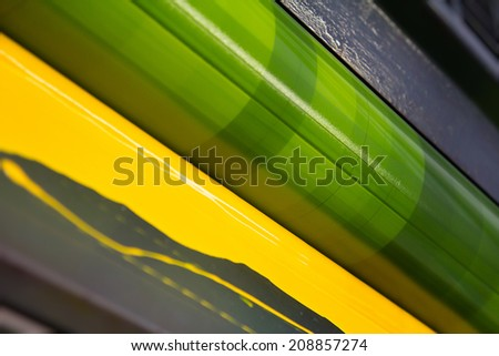 Ofset Print, Roller With Yellow Ink - stock photo