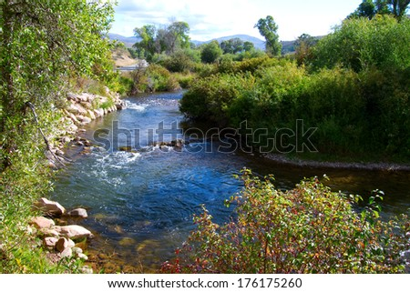 Ogden River as it flows along the Ogden River Scenic Byway - stock photo