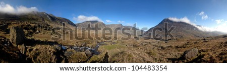 Ogwen Valley in the heart of Snowdonia national park with cloud and mist North Wales