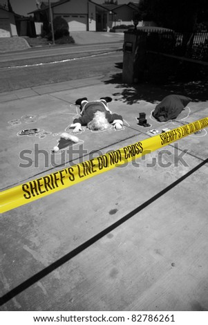 OH MY GOD! Someone SHOT SANTA CLAUS in a Drive By Shooting!  Santa Claus falls victim to violence and is killed. Sheriff and CSI are investigating who could have done such a dastardly dead. - stock photo