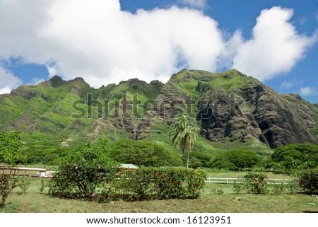 Ohau volcanic mountains - stock photo