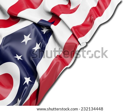 Ohio Flag with white - stock photo