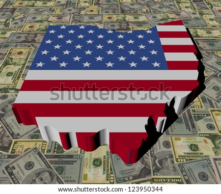 Ohio Map flag on American dollars illustration