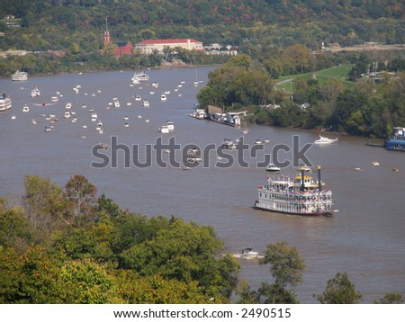 ohio river  boat - stock photo