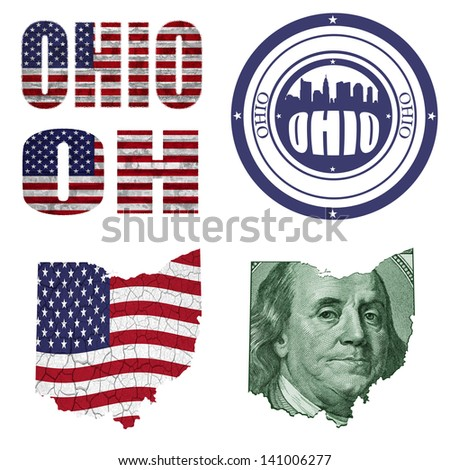Ohio State Collage Map Stamp Word Abbreviation In Different Styles In