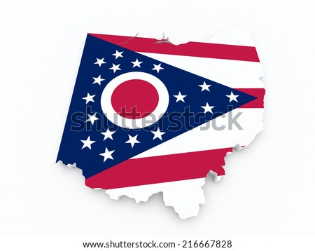 Ohio state flag on 3d map - stock photo