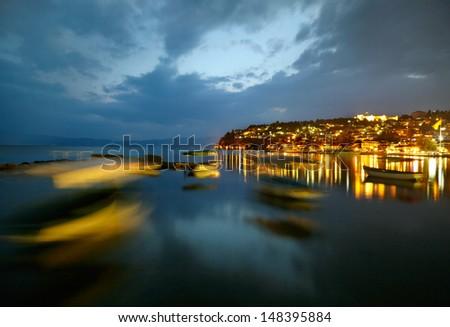 Ohrid lake after sunset - stock photo