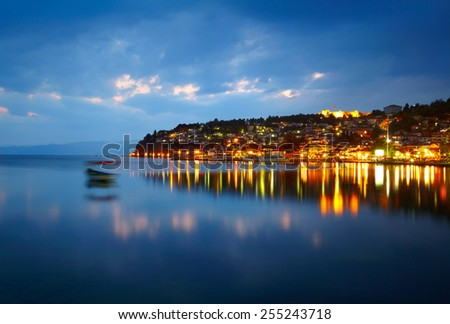 Ohrid lake after sunset - stock photo
