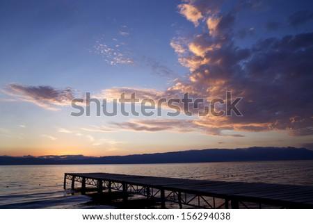 Ohrid lake at sunset, Macedonia - stock photo