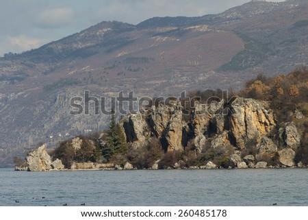 Ohrid lake landscape - stock photo