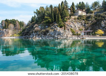 Ohrid, Macedonia - March 23, 2014: Summer residence of Marshal Josip Broz Tito on Lake Ohrid in Republic of Macedonia.
