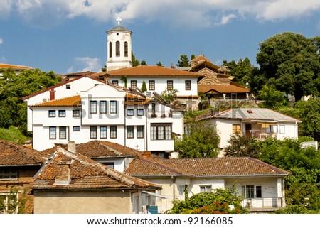 Ohrid old UNESCO town in Macedonia Balkans. - stock photo