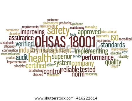 OHSAS 18001 - Health and Safety, word cloud concept on white background.  - stock photo