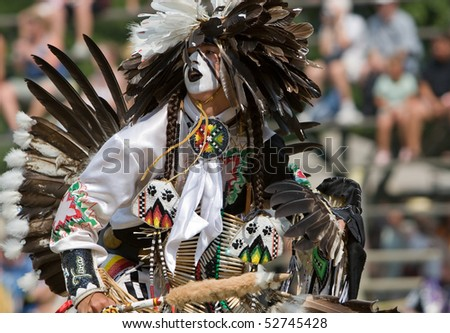 OHSWEKEN, ONTARIO, CANADA - JULY 27: Traditional dancer performs during the Grand River Champion of Champions Powwow July 27, 2008 in Ohsweken, Ontario, Canada.