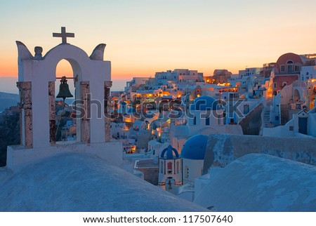 Oia after sunset - stock photo