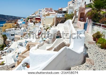 Oia captain's houses on the island of Thera (Santorini), Greece. - stock photo