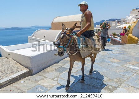 OIA, SANTORINI, GREECE - July 22, 2014: Man is riding a donkey by hot weather in Oia, Santorini, Greece.The tourists will be transported by donkeys from the port to the village. - stock photo
