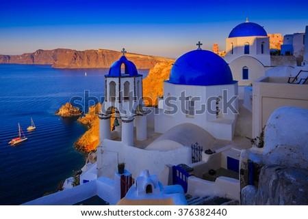 Oia, Santorini, Greece - sunset  - stock photo