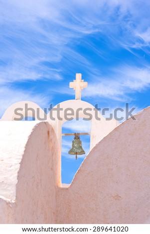Oia Santorini White Cross, Bell, Architecture, Sky, Clouds - stock photo