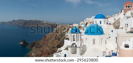 Oia the village of Santorini island in Greece - stock photo
