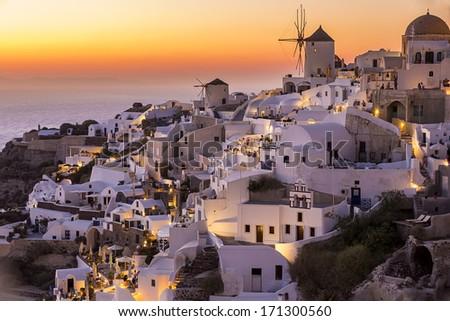 Oia town , Santorini island, Greece - stock photo