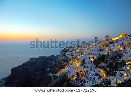 Oia village at dawn - stock photo