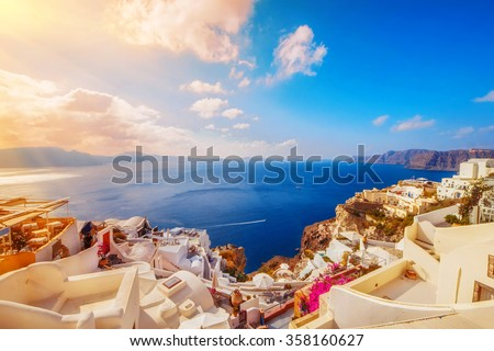 Oia village in the morning light, Santorini, Greece