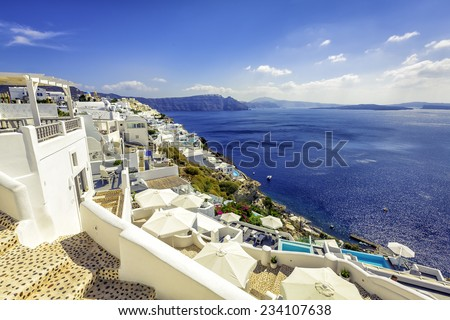 Oia village with white houses in Santorini Island, Greece