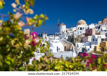 Oia Village with windmill at Santorini, Greece - stock photo