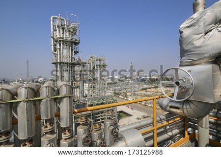 Oil and chemical industrial plant with blue sky in winter season