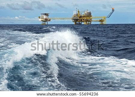 Oil and gas drilling platform - stock photo