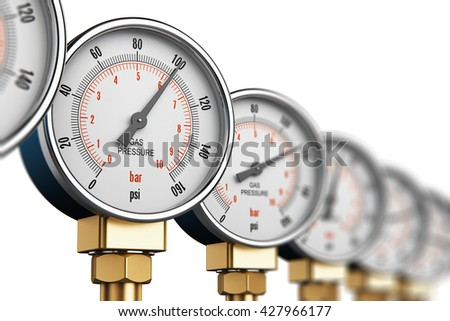 Oil and gas fuel manufacturing industry business concept: 3D render of the row of metal steel high pressure gauge meters or manometers on tubing pipeline at LNG or LPG natural gas distribution station