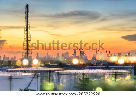 Oil and gas industry - refinery at sunset - factory - petrochemi - stock photo