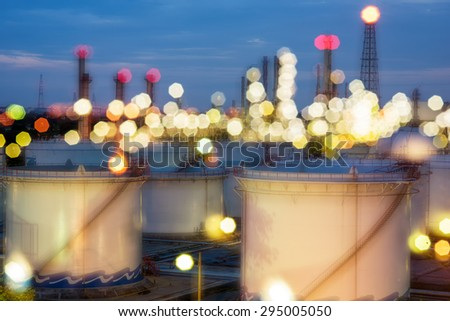 Oil and gas industry - refinery at sunset - factory - petrochemical plant with out of focus - stock photo