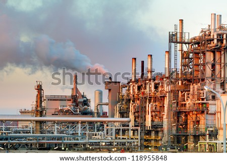 Oil and gas industry - refinery at twilight - factory - petrochemical plant - stock photo