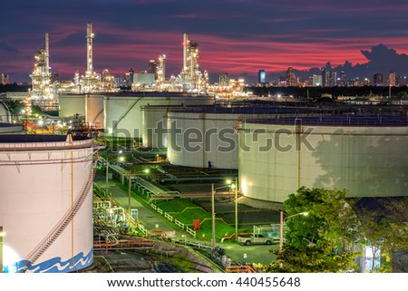 Oil and gas industry - refinery factory - petrochemical plant at twilight - stock photo