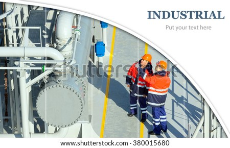 Oil And Gas Industry. Work on the gas tanker safety monitor. industrial - stock photo