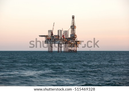 Oil and gas jack up drilling rig in the ocean sea from oil and gas industrial petroleum. This rig is Jack up rig type