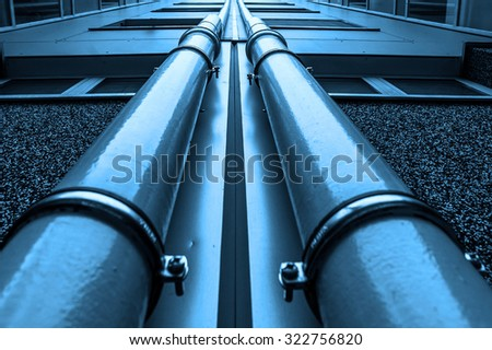 oil and gas pipelines in a blue toning - stock photo