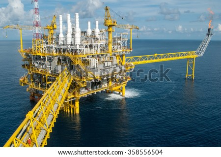 Oil and gas platform or Construction platform - stock photo