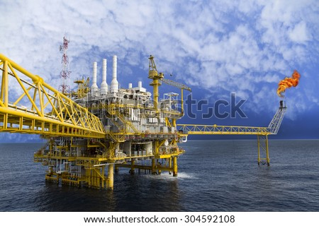 Oil and gas platform or Construction platform in the gulf or the sea, Production process for oil and gas industry. - stock photo