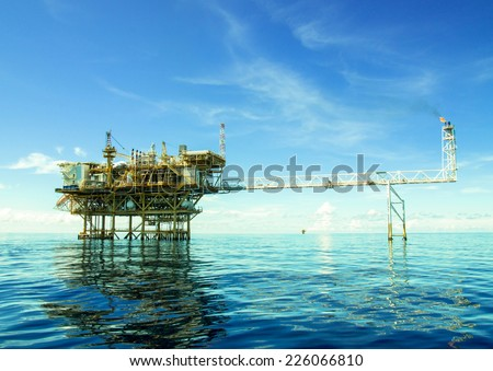 Oil and gas platform with gas burning,Offshore oil and rig construction. - stock photo