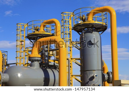 oil and gas processing plant - stock photo