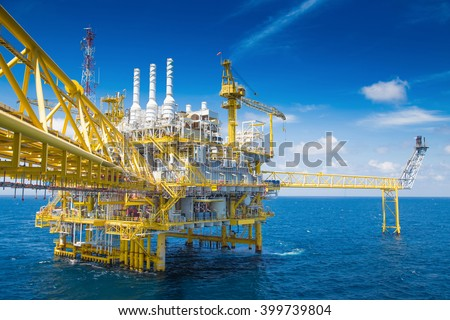 Oil and gas processing platform at the gulf of Thailand - stock photo