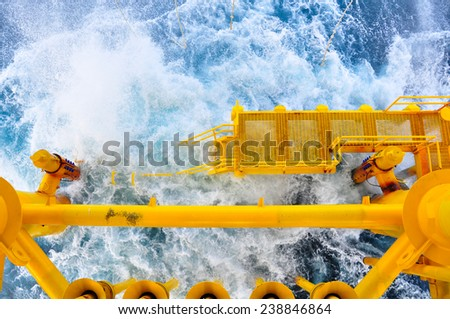 Oil and Gas Producing Slots at Offshore Platform, The platform on bad weather condition.,Oil and Gas Industry, blur - stock photo
