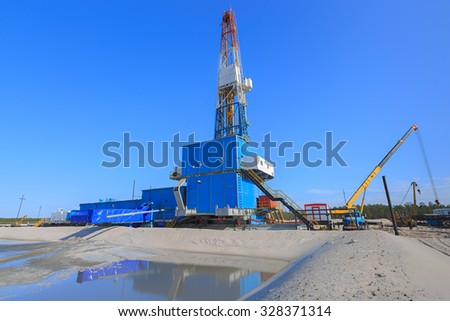 oil and gas production in nature - stock photo