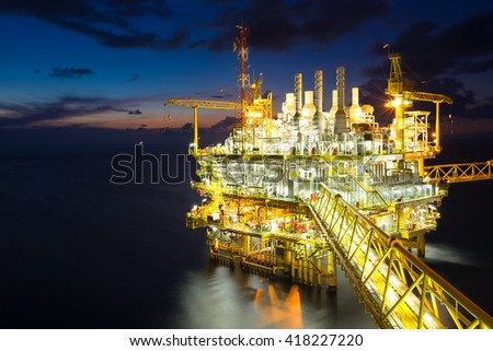 Oil and Gas production platform, Energy business for supply  oil and gas to onshore refinery,petrochemical plant. - stock photo