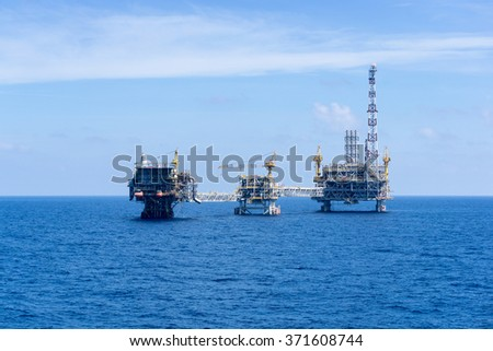 Oil and gas production platforms at offshore Terengganu, Malaysia